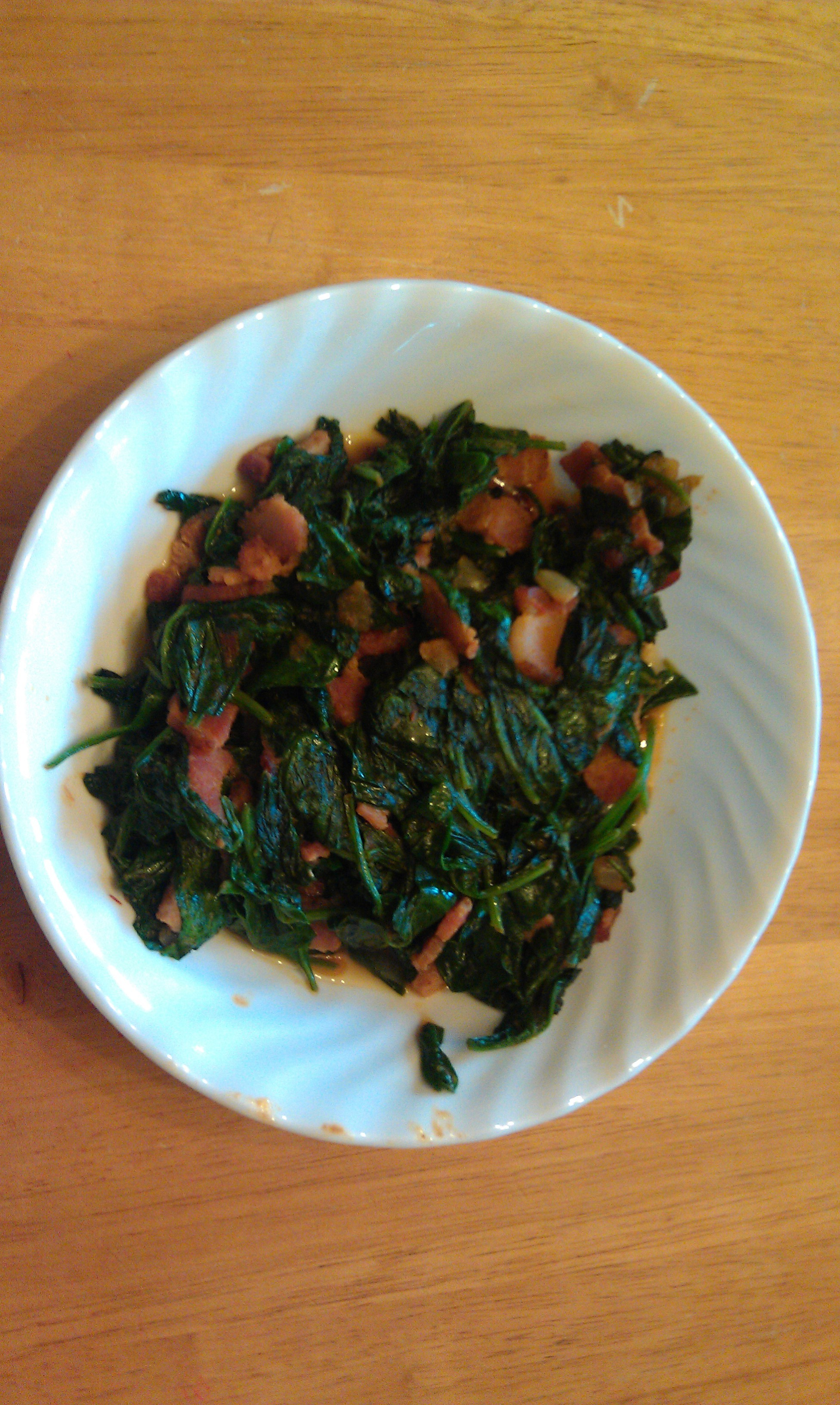 photo of spinach with a bacon and salsa kick
