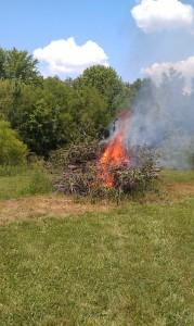 burn pile ablaze